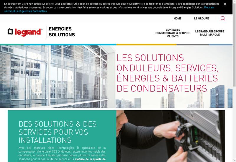 Capture d'écran du site de Legrand Energies Solutions
