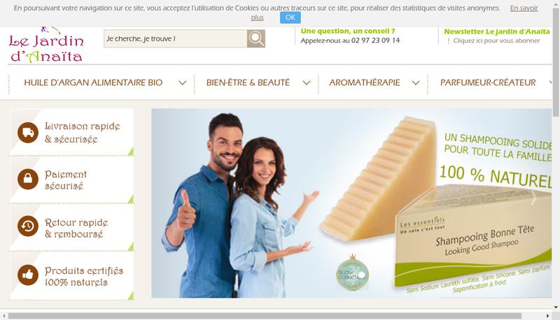 Capture d'écran du site de Le Jardin d'Anaita