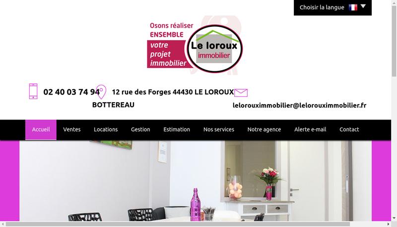 Capture d'écran du site de Le Loroux Immobilier