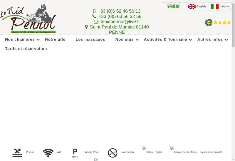 Capture d'écran du site de Le Nid Pennol