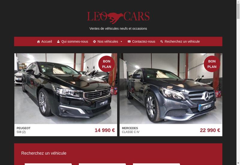 Capture d'écran du site de Leo Cars