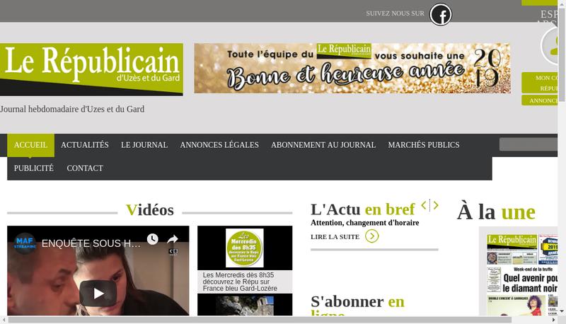 Capture d'écran du site de Le Républicain d'Uzès