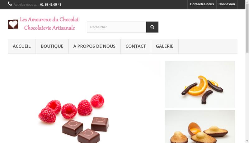 Capture d'écran du site de Les Amoureux du Chocolat