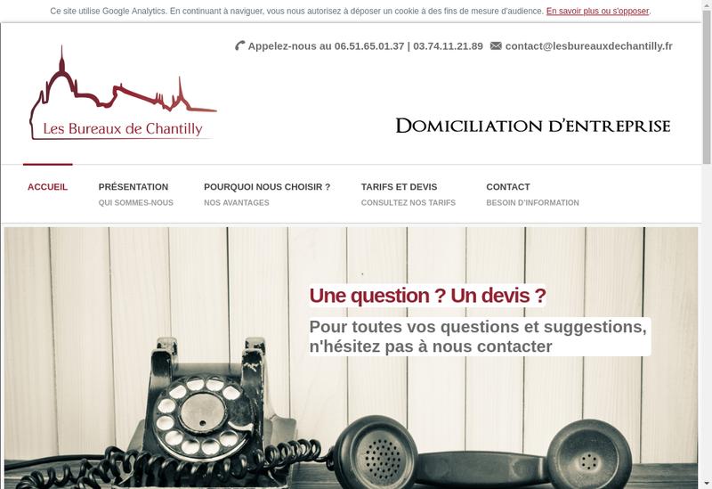 Capture d'écran du site de Les Bureaux de Chantilly