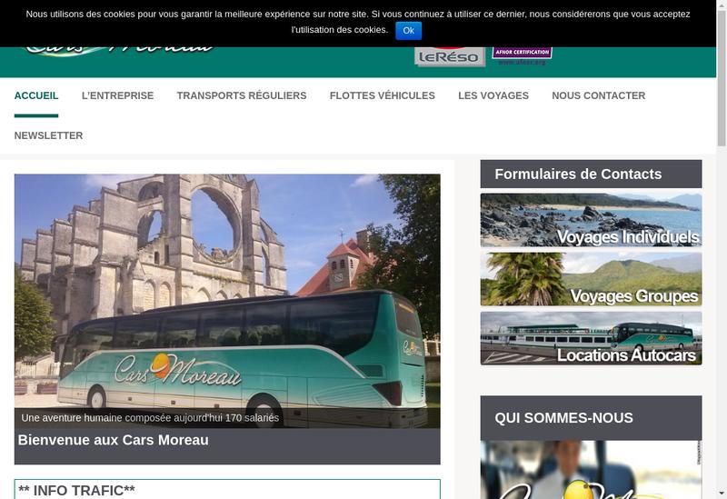 Capture d'écran du site de Les Cars Moreau