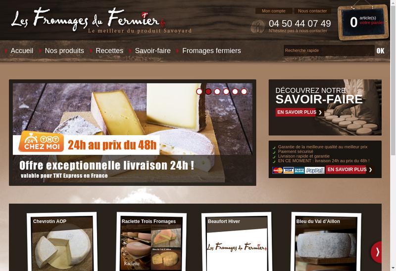 Capture d'écran du site de Les Fromages du Fermier