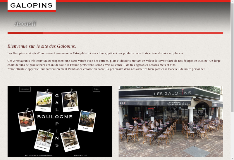 Capture d'écran du site de Les Galopins Boulogne