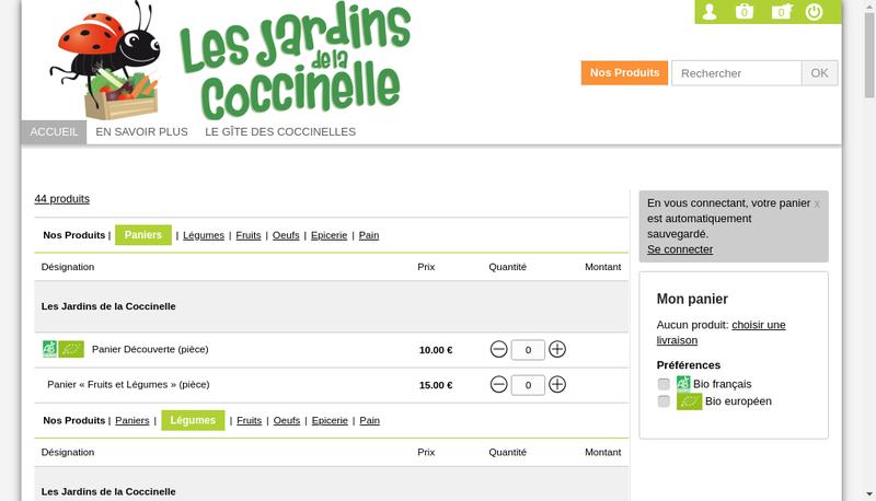 Capture d'écran du site de Les Jardins de la Coccinelle