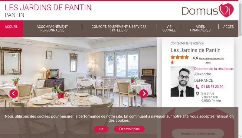 Capture d'écran du site de Les Jardins de Pantin