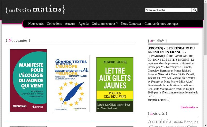 Capture d'écran du site de Les Petits Matins