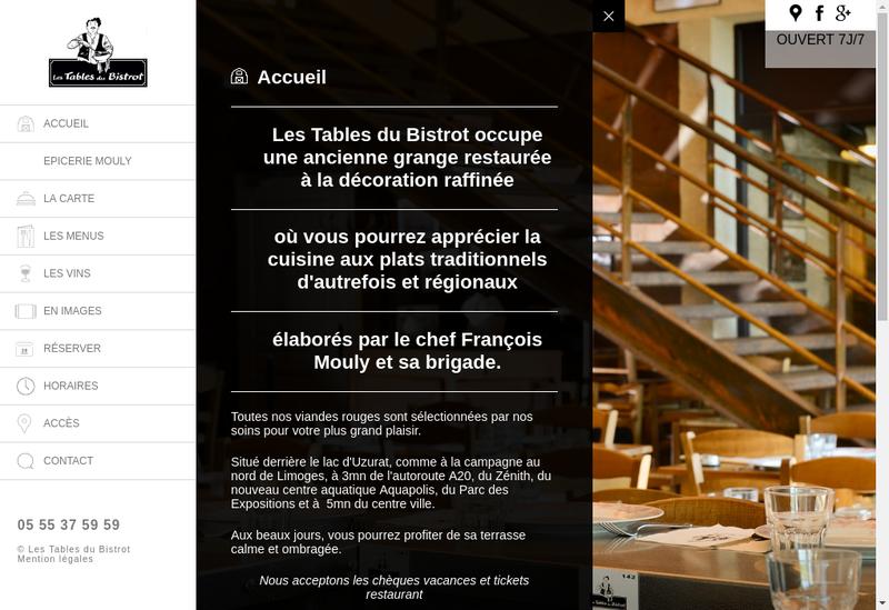 Capture d'écran du site de Les Tables du Bistrot