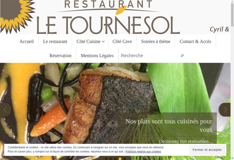 Capture d'écran du site de Le Tournesol Restaurant