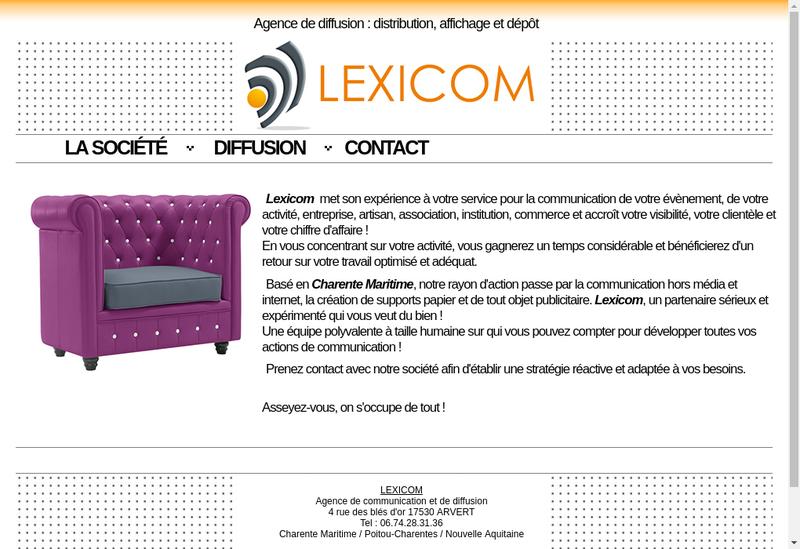Capture d'écran du site de Lexicom