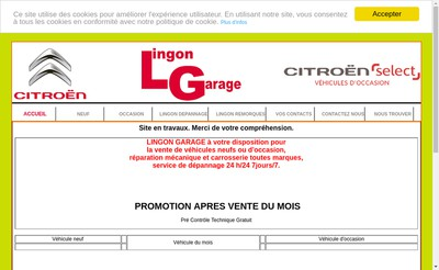 Site internet de Lingon Garage