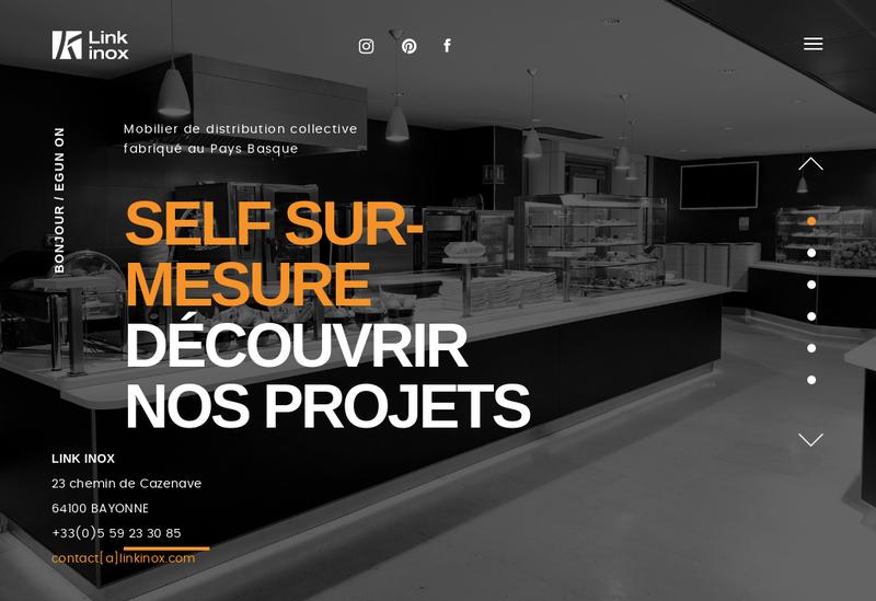 Capture d'écran du site de Link Inox