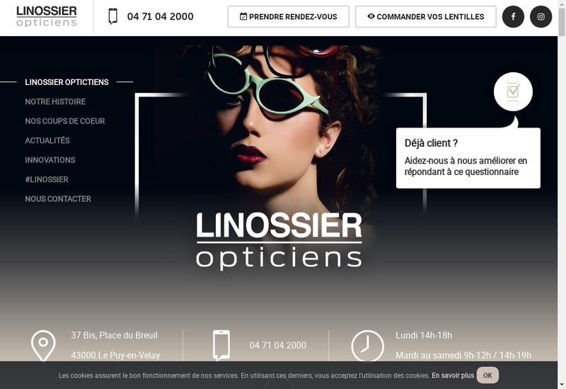 Capture d'écran du site de Linossier Opticiens