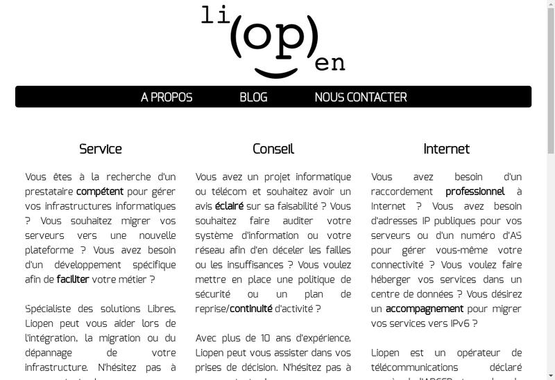 Capture d'écran du site de Liopen