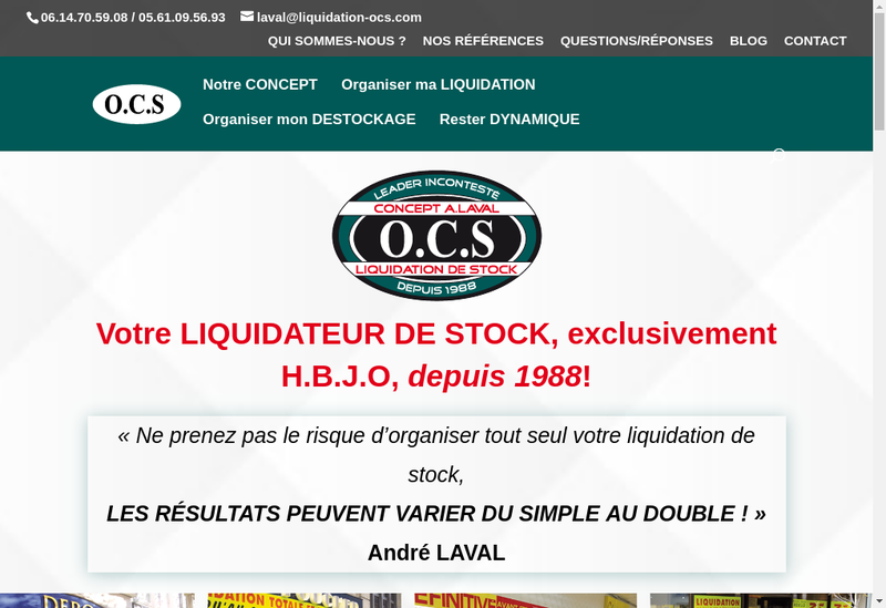 Capture d'écran du site de Ocs Concept Andre Laval