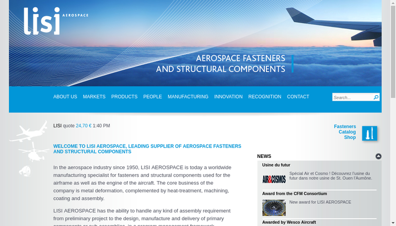 Capture d'écran du site de Lisi Aerospace Structural Components