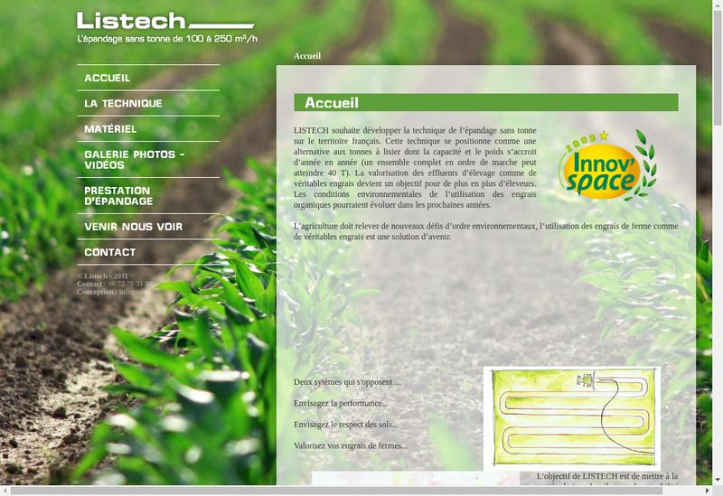 Capture d'écran du site de Listech