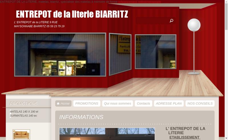 Capture d'écran du site de Literie du Bab