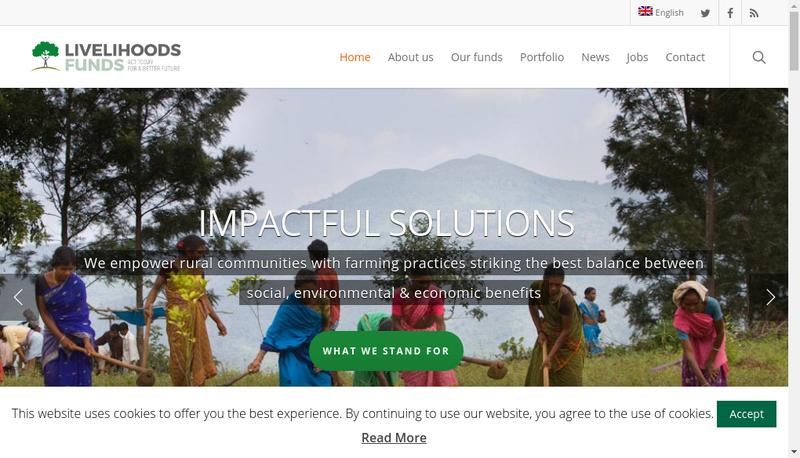 Capture d'écran du site de Livelihoods Venture