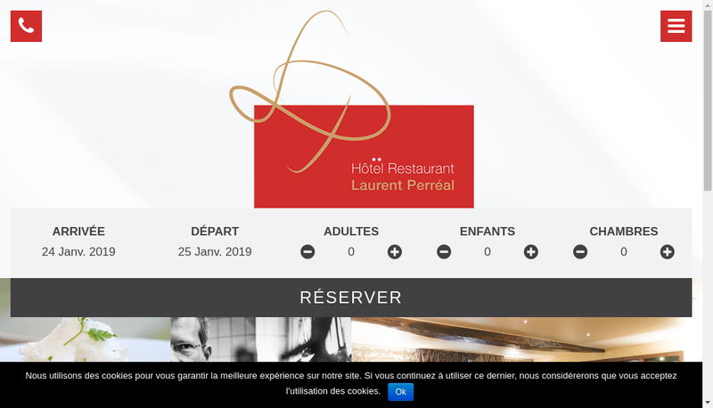 Capture d'écran du site de Hotel Restaurant Laurent Perreal