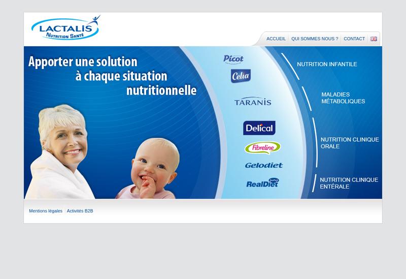Capture d'écran du site de Lactalis Nutrition Dietetique