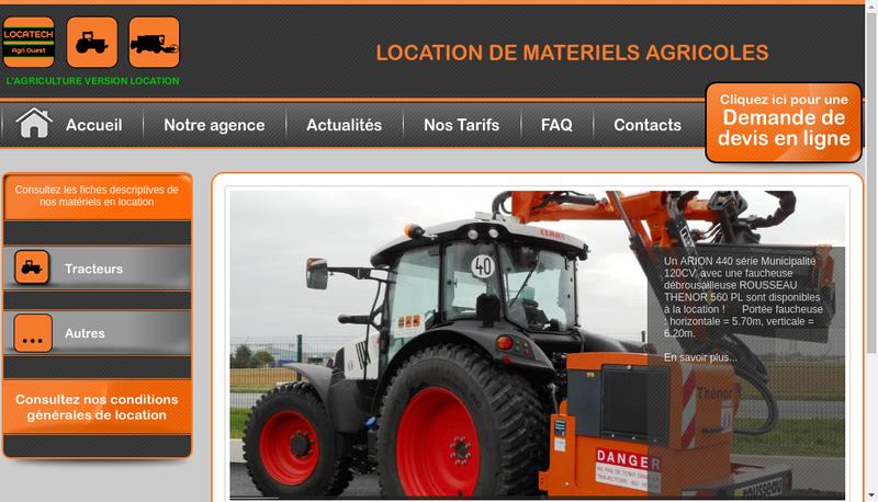Capture d'écran du site de Locatech Agri Ouest
