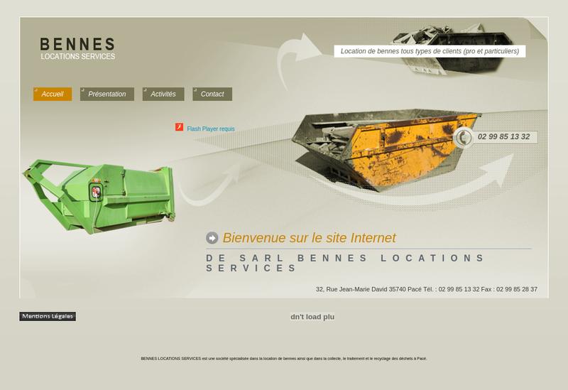 Capture d'écran du site de Bennes Locations Services