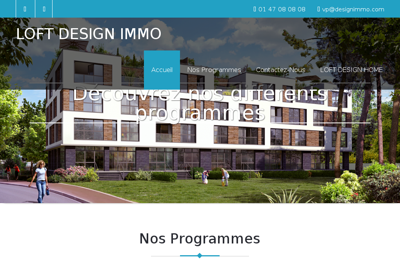 Capture d'écran du site de Loft Design Immobilier
