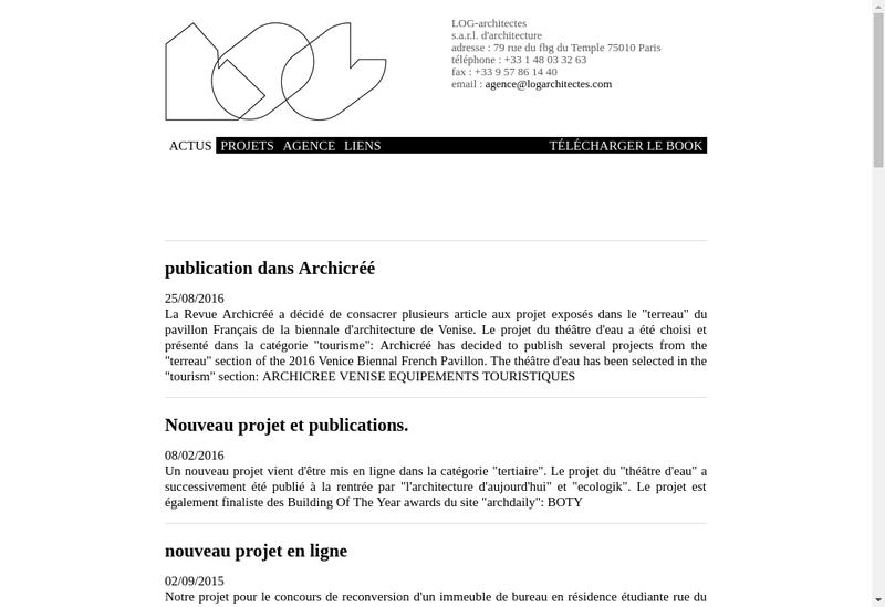 Capture d'écran du site de Log Architectes