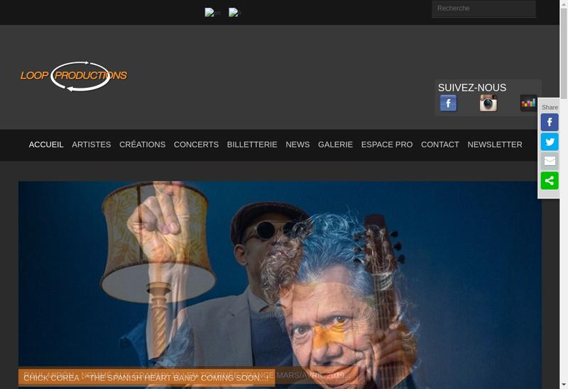 Capture d'écran du site de Loop Productions