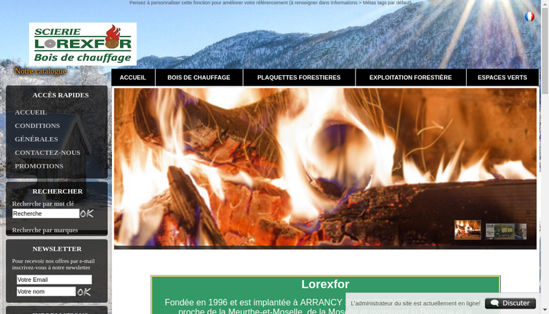 Capture d'écran du site de Lorexfor