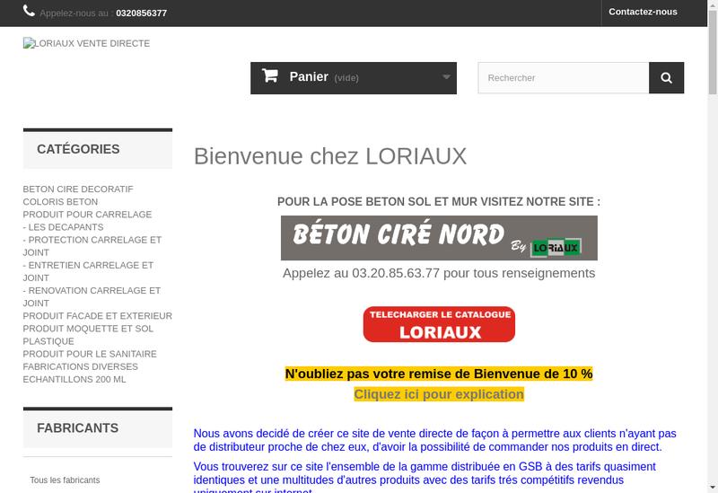 Capture d'écran du site de Loriaux SARL