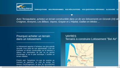 Capture d'écran du site de Terraquitaine