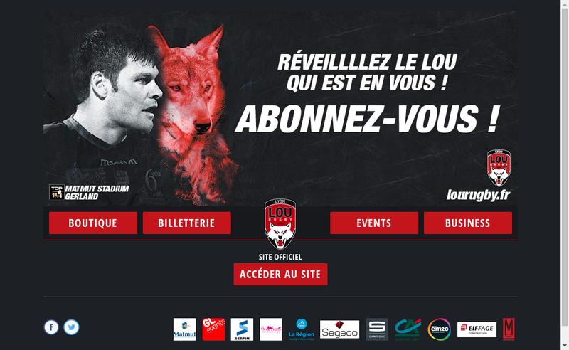 Capture d'écran du site de Lyon Olympique Universitaire - Lou Rugby
