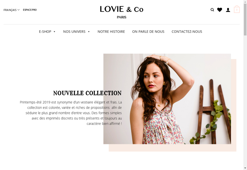 Capture d'écran du site de Lovie&Co