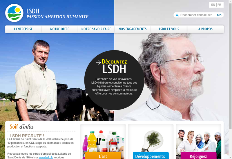 Capture d'écran du site de Laiterie de Saint Denis de l'Hotel