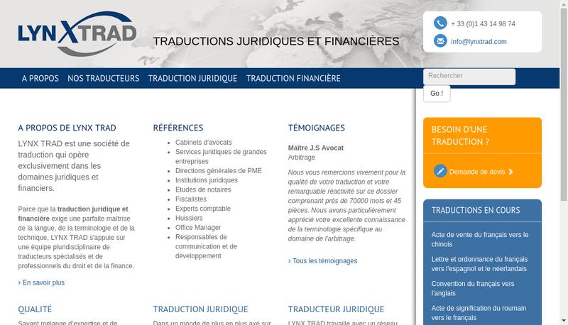 Capture d'écran du site de Lynx Trad