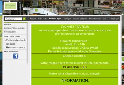 Capture d'écran du site de Lyonnet Traiteur