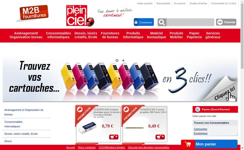 Capture d'écran du site de M2B Fournitures