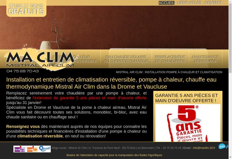 Capture d'écran du site de Ma Clim