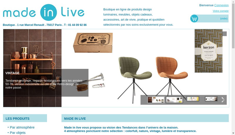 Capture d'écran du site de Made In Live
