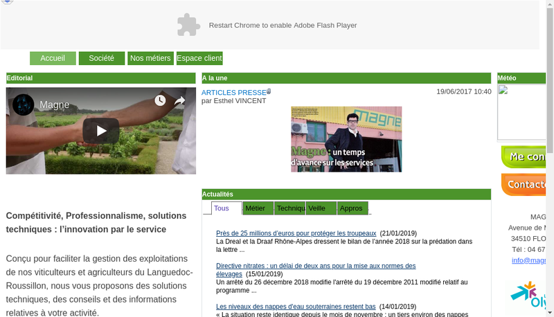 Capture d'écran du site de SA Magne