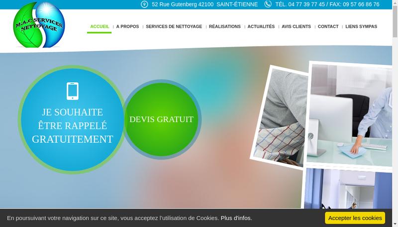 Capture d'écran du site de MAC Services