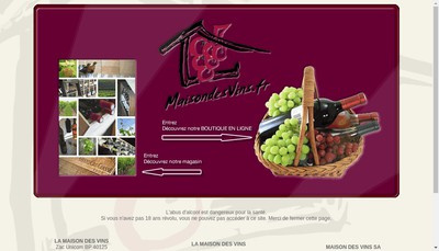 Site internet de La Maison des Vins