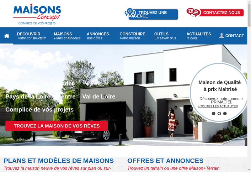 Capture d'écran du site de Maisons Concept
