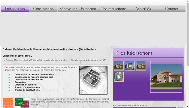 Capture d'écran du site de Cabinet Mathieu