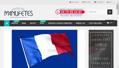 Capture d'écran du site de SA Manufetes